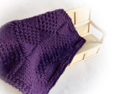 Miniature Dollhouse Afghan Rug or Throw for Bed or Sofa 1:12 or 1 inch scale...Hand Knitted Textured Throw in Merino Yarn