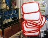 Vintage  Red Bordered Gummed Labels, Denney Reyburn, NOS, as Little as 20 Cents a Label, Dennison Style