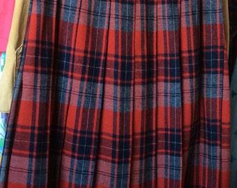 VINTAGE PLAID SKIRT, pleated, red, gray, classic style, retro fashion, preppy school girl