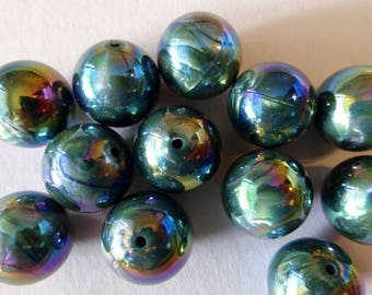 Vintage Olive Green AB 18mm Round Lucite Beads (8)