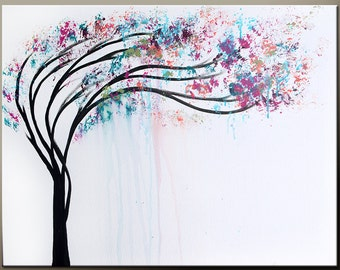 Abstract Canvas Art Tree Painting 18x24 Original Contemporary Landscape Wall Art by Destiny Womack - dWo - In the Rain