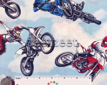 MOTOCROSS Racing Motorcycles Race Sky Blue Plans Cotton Quilt Fabric by the Yard, Half Yard, or Fat Quarter Fq Competition Sport Supermoto