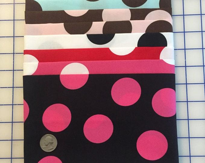 SALE 8-pc. Fq SET LARGE Polka Dot #39 Robert Kaufman Pimatex Cotton Quilt Dress Fabric 8 Fat Quarters