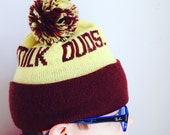 Vintage knit hat with pompon milk duds candy acrylic yarn