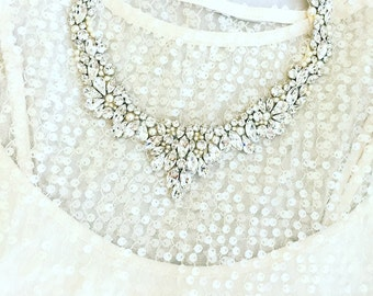 Statement wreath collar necklace, Rhinestone Bridal Bib Necklace, wedding Necklace, handmade rhinestone necklace, collar necklace