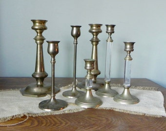 Vintage solid brass candlesticks candleholders collection of seven 7