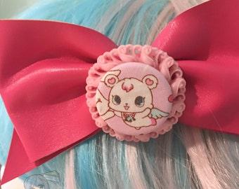 Big Jewelpets Labra Polar Bear Hot Pink Fake Leather Fairy Kei Bow Hair Barrette (1 pcs)