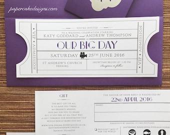 Vintage Ticket Wedding Invitation Suite / Cinema Film Theater Music or Ballroom Theme / Tear-off RSVP postcard Details Map enclosure card
