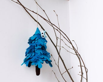 Blue Fir Tree Christmas tree Blue Tree with owl Ornament to hang Christmas decorations