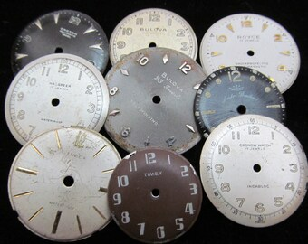 Vintage Antique Watch Dials Steampunk  Faces Parts Altered Art Industrial  H 4