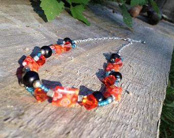 Orange and light  blue Necklace