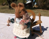Needle Felted Wool Lady Mouse with Distaff, Drop Spindle, and Spinning Wheel, Soft Sculpture, Need Felted Art, Needle Felted Collectible