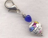 Happy Stitch Marker Clip Hand Painted Ceramic I Hope You Will Be Happy Single /SM233B