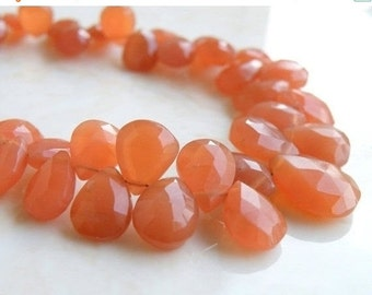 Clearance SALE Peach Moonstone Gemstone Briolette Faceted Pear Tear Drop 9 to 10mm 11 beads