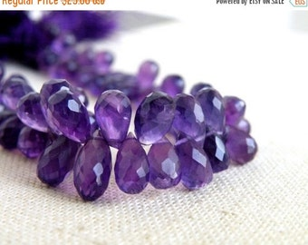 Clearance SALE Purple Amethyst Gemstone Faceted Teardrop Briolette 7 to 9mm 30 beads