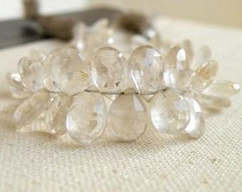 Rutilated Quartz Briolette Gemstone Golden Faceted Pear Teardrop 8 to 8.5mm 21 beads