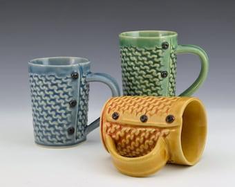 Medium Tea Cup Mug Knitted Garter Pattern, tea cup, tea mug, Buttons MADE TO ORDER