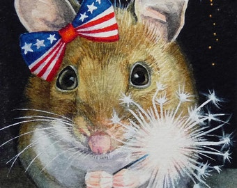 Independence Day 4th of July Mouse Sparkler Limited Edition ACEO Giclee Print reproduced from the Original Watercolor
