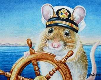 Summer Sailing Captain Mouse Limited Edition ACEO Giclee Print reproduced from the Original Watercolor