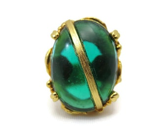 Green Statement Ring - Vintage, Large, Glass Stone, Adjustable