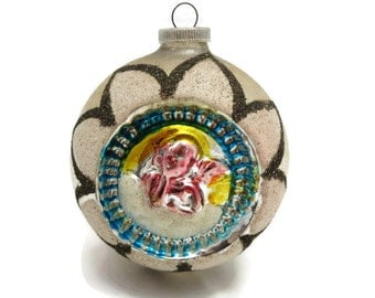 Christmas Ornament - West Germany, Vintage Glass, Snow, Glittered
