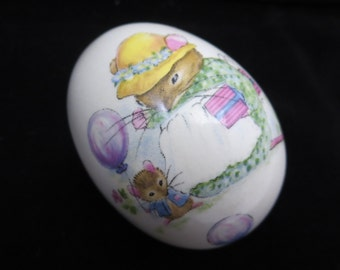 Porcelain Easter Egg - Vintage Spring Decoration, Mouse