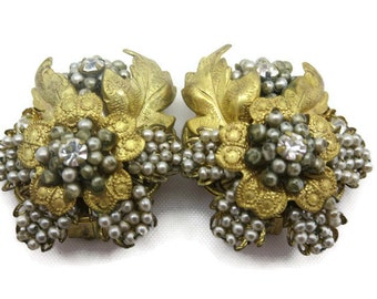 Vintage Beaded Earrings - Rhinestones, Robert DeMario Miriam Haskell Style, Brass Filigree