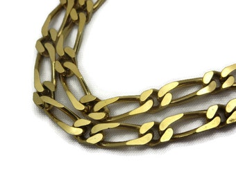 Gold Chain Necklace - Vintage, Figaro Chain, Monet, Long