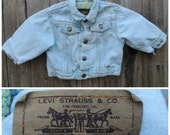 Vintage Kids LEVI'S Denim Jacket  // Vtg Made in the USA Orange Tab Light Wash Denim Jacket  // unisex toddler infant size 6 - 12 months