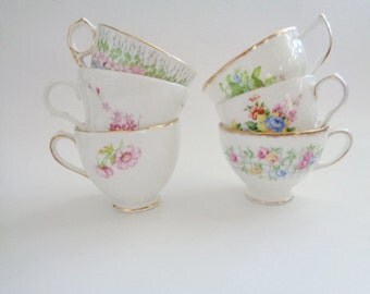 Vintage Mismatched Floral Tea Cups Set of 6