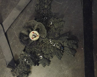 Black Lace Sequin Rhinestone Tie Up Necklace