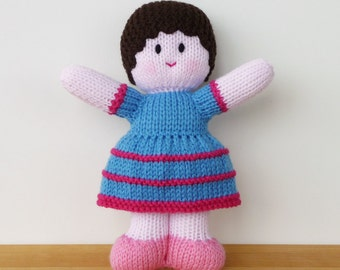 "KNITTED DOLL - ""Primrose"" - Baby Buddy with pink skin tone - baby gift - toddler gift - playtime friend"
