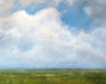 Oil Painting Original Landscape Modern Abstract Sky Cloud Field by J Shears