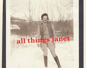 Antique Photo Snapshot Girl in Snow wearing Riding Boots & Jodhpurs Breeches Pants 1920's ORIGINAL