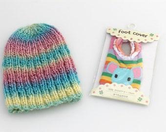 Toddler Beanie And Socks. Rainbow. Crochet.