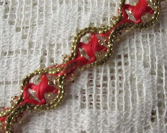 """2 Yards Vintage Metallic Trim Ribbon 3/8"""" Wide Red Gold Very Fancy Old Store Stock"""
