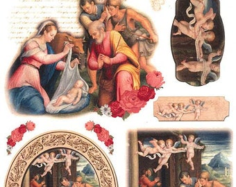 Made In Italy Rice Paper Decoupage Sheet Vintage Religious Christmas  RCP-SP-92