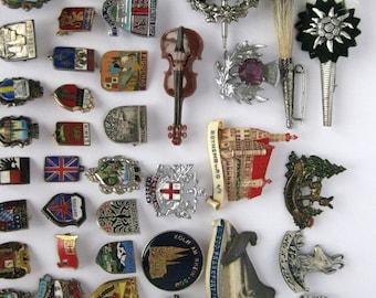 68 Vintage European Souvenir Hat pins Germany Austria Switzerland Holland France Italy Spain