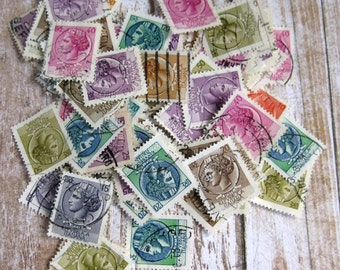 100 USED ITALIANA postage stamps for your art projects vintage stamps