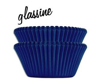 Blue Glassine Baking Cups - 50 solid dark blue paper cupcake liners