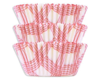 Light Pink Picnic Plaid Baking Cups - 50 pastel pink polka dot cupcake liners