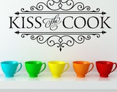 Vinyl Wall Decal - Kiss the Cook