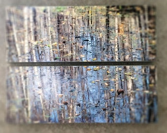 Tranquil Reflection - Diptych with Trees Mirrored in Water - Ready to Hang Wooden Photography Set of 2 Panels, 12 x 10-in