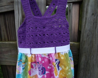 Girls Size 4-5 My Little Pony Dress with Crochet Bodice and Adjustable Straps