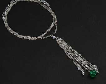 """18K Solid White Gold 1.15CT Diamond 1.5CT Emerald 16""""-18"""" Adjustable Necklace"""