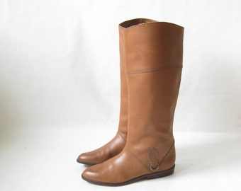Vintage 80's Riding Boots. Tall Harness Boots. Size 7 1/2