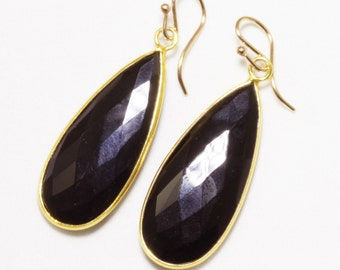 Black Onyx Gemstone Earrings Black Stone Earring Faceted Teardrop Earrings Genuine Black Onyx Earrings 14k Gold Bezel BZ-E-139-BlkOnyx/g