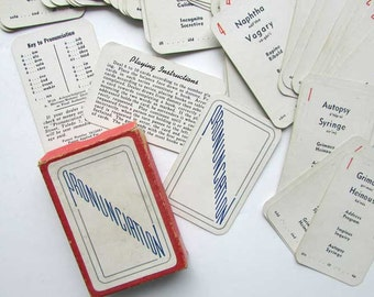 Vintage 1940's Pronunciation Word Card Game, Complete in Box, Educational Word Game, 4 Dollar Vintage Store