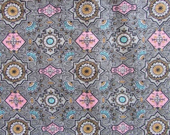 Vintage Fabric, Vintage 1950's Light Weight Home Decor Cotton Fabric,  36 Inch Wide, Mid Century Design and Colors in Pink, Aqua, Gold, Gray