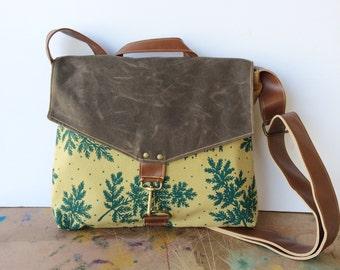 commuter • crossbody messenger bag - teal fern print • screenprinted - brown waxed canvas - autumn orange canvas - gifts under 100 • native